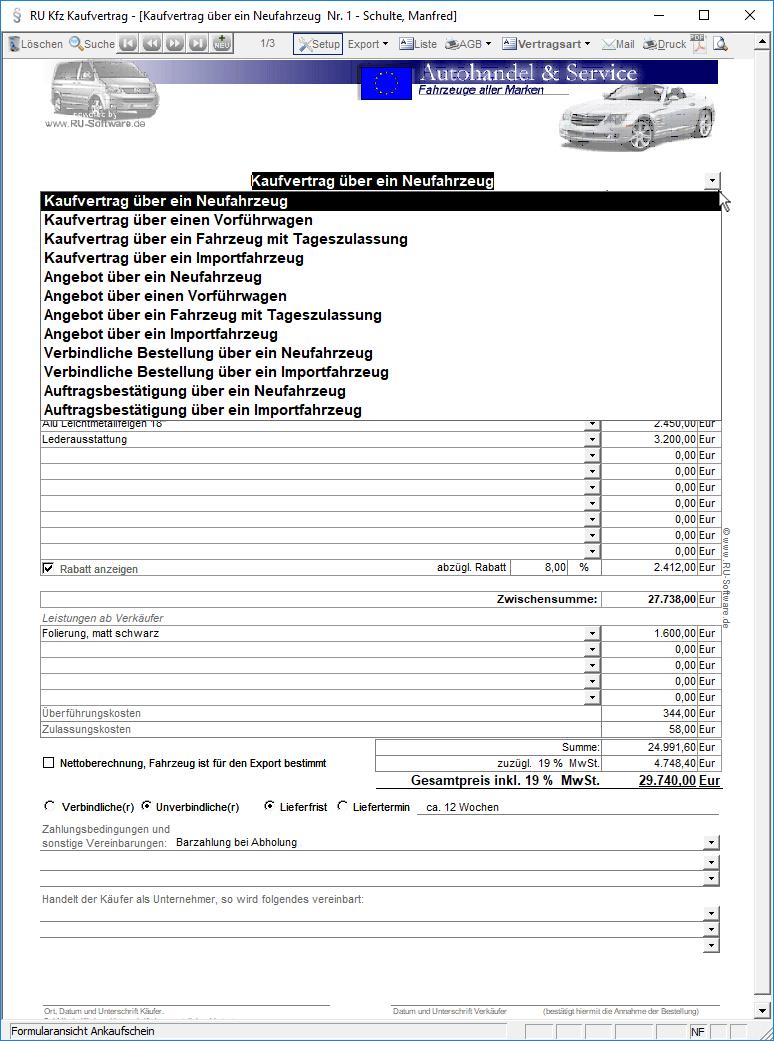 Kfz Kaufvertrag Software Gewerblich Autohandler Autohandel