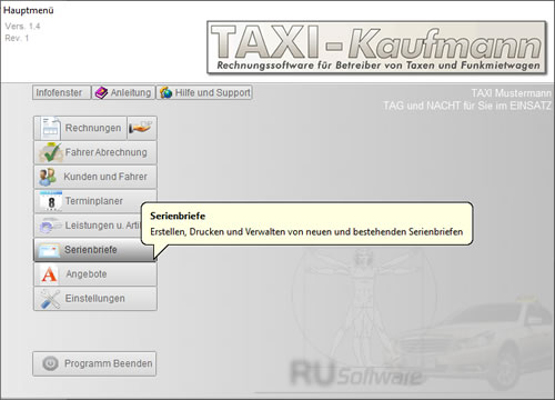 Taxi Software Hauptmenue